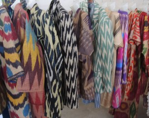 Clothing made from Fazlitdin Dadajanov's ikat.