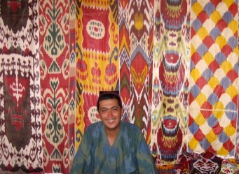 Rasuljon with an array of ikat.