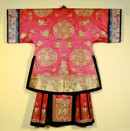 Wedding jacket and skirt, China, Qing Dynasty (1644-1912) c. 1860. Silk; couched gold threads USC Pacific Asia Museum Collection. Gift of Dr. and Mrs. Milton Rubini.