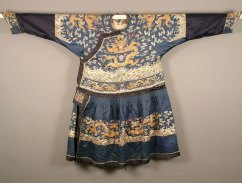 Man's Formal Court Robe, China, c. 1800. Silk satin; silk and metallic thread; metal buttons. USC Pacific Asia Museum Collection. Gift of Mr. and Mrs. Frederick Hake.