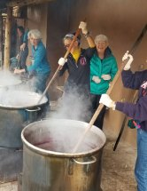 Our group was there to work! Stirring the dyepots.