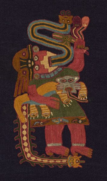 Paracas; south coast, Peru; Mantle (Detail), 100 BC/AD 200; Wool (camelid), plain weave; embroidered in stem stitches; corners edged with weft-faced plain weave with extended ground weft fringe and embroidered in cross-knit loop stitches; 238.1 x 106.7 cm (93 3/4 x 42 in.); The Art Institute of Chicago, Emily Crane Chadbourne Fund; 1970.293