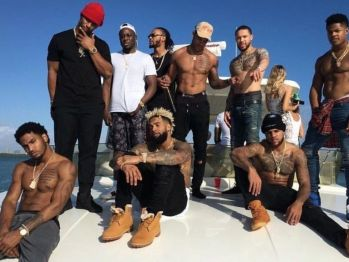 Giants WR on a boat before their playoff game against the Packers