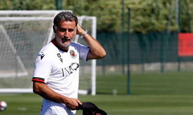 Christophe Galtier et sa casquette aux couleurs de l'OGC Nice