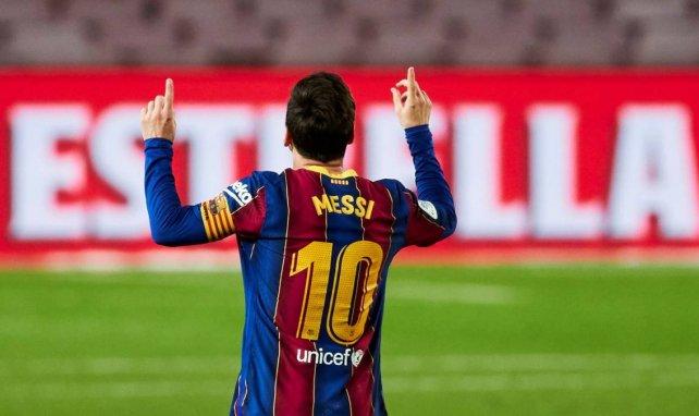 Lionel Messi célèbre son but avec le Barça