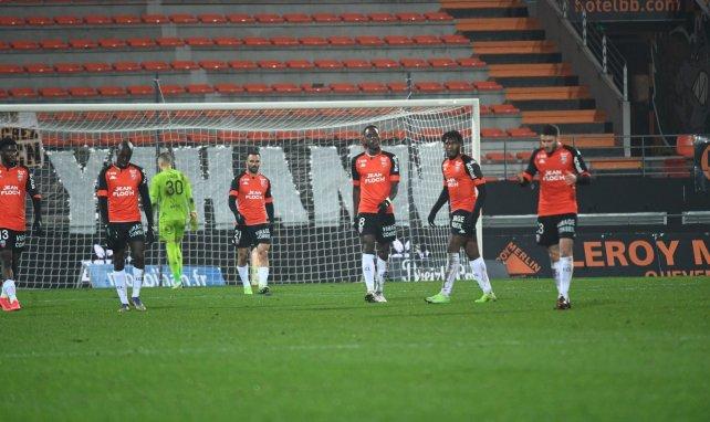 Les joueurs de Lorient face à Monaco