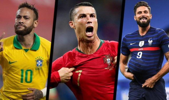 Neymar, Cristiano Ronaldo et Olivier Giroud