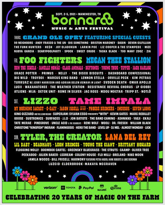 Bonnaroo Music & Arts Festival – Manchester, TN | September 2-5, 2021