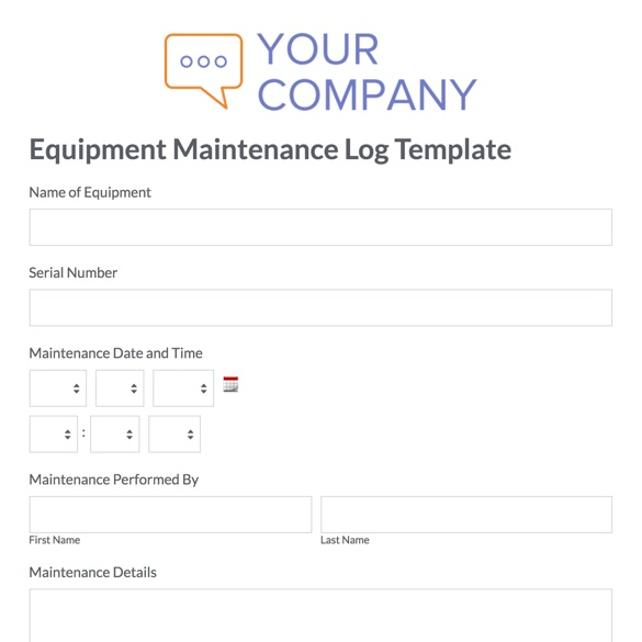 It assigns the assets and forwarding them into production. Equipment Maintenance Log Template Formstack