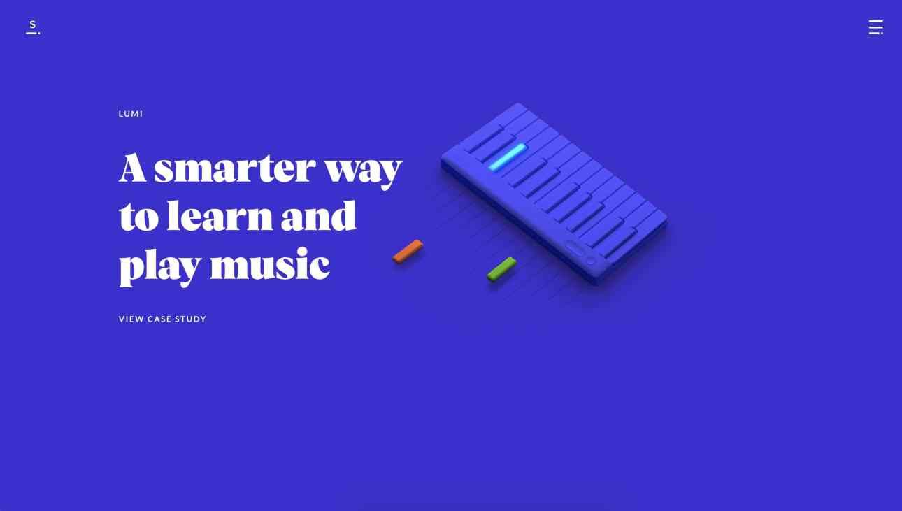 Sennep's home page hero features a 3D illustration of a blue piano.