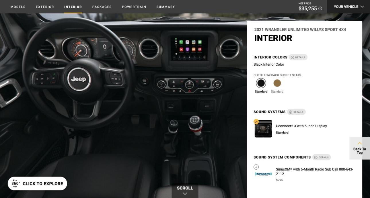 Jeep Wrangler has an immersive AR experience that shows various aspects of the car's interior.