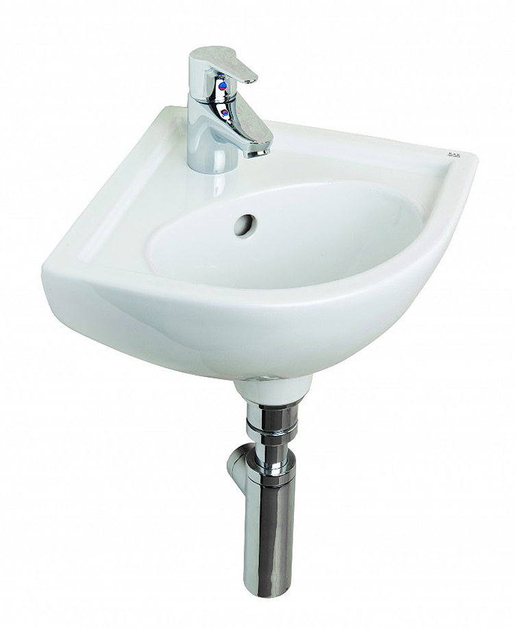 essential lily raised height compact corner basin ec1013