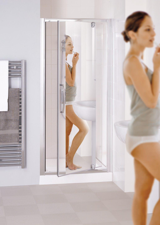 Lakes Mirror Glass 700mm Semi Frameless Pivot Shower Door