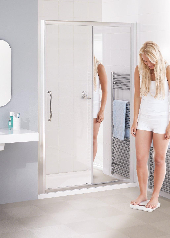 Lakes Mirror Glass 1700mm Semi Frameless Slider Shower Door
