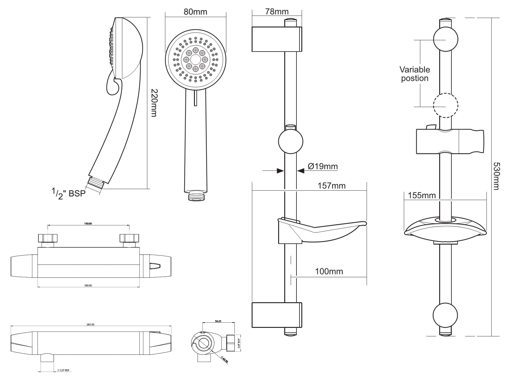 Triton Exe Bar Mixer Shower Set
