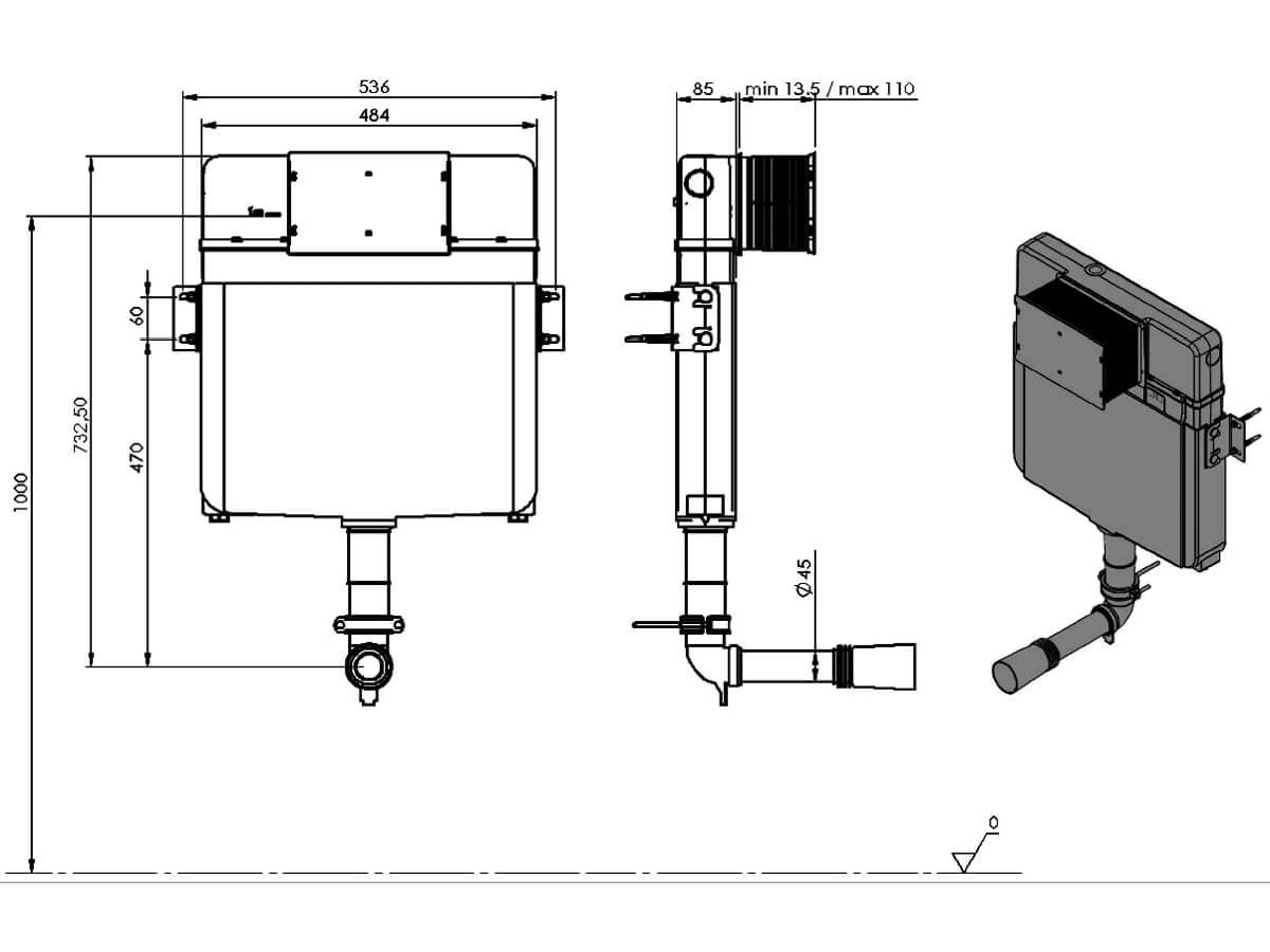 Saneux Flushe 2 0 Ultra Slim Concealed Cistern Front