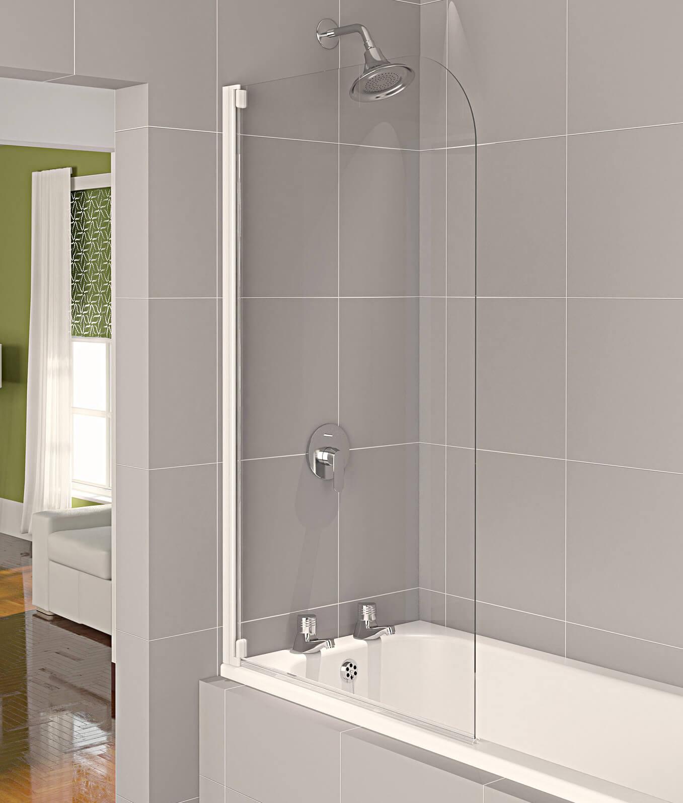 Aqualux Aqua 4 Half Frame 800mm Bath Screen White Clear