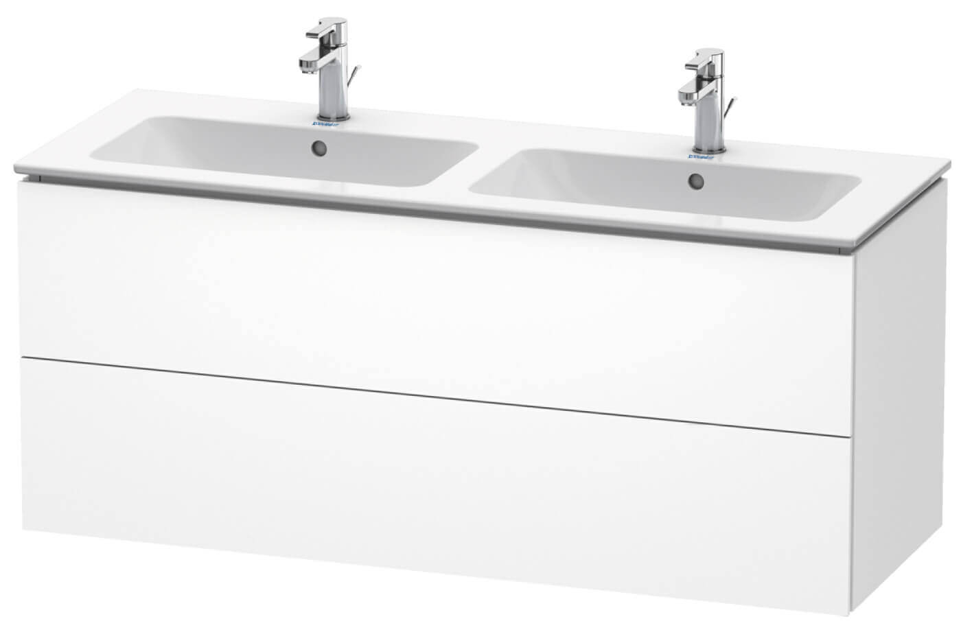 duravit l cube 1290mm wide 2 drawers wall mounted vanity unit for me by starck basin