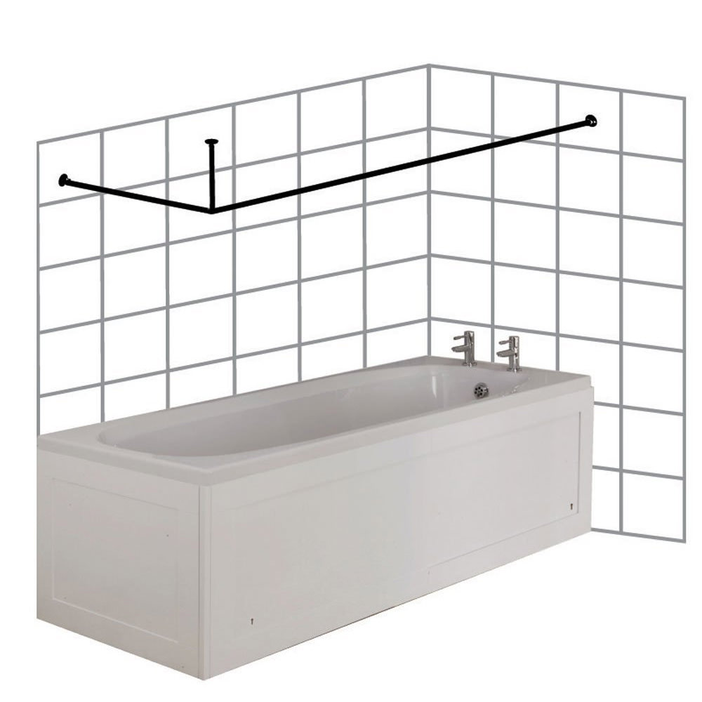croydex large l shaped to wall rod curtain rail and ceiling support