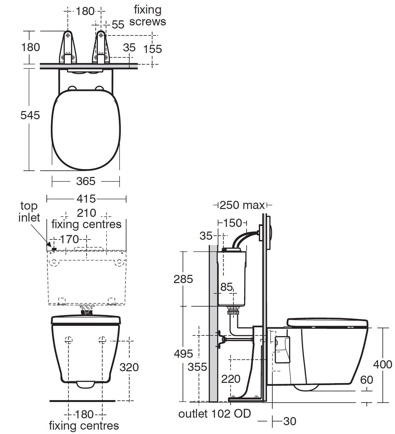 Ideal Standard Concept Wall Mounted Wc Pan 545mm
