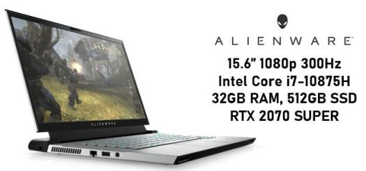 Alienware m15 R3 Intel Core i7-10875H 300Hz RTX 2070 SUPER Gaming Laptop with 32GB RAM, 512GB SSD