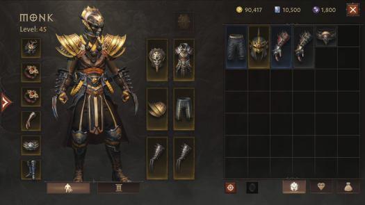 Diablo Immortal - Monk inventory screen.