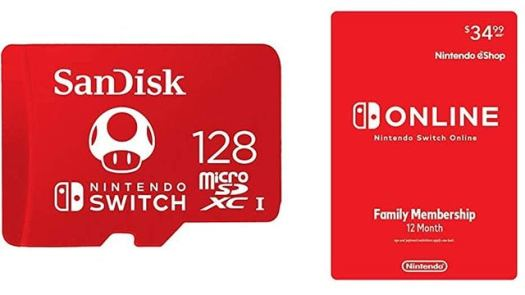 Nintendo Switch Online 12-Month Family Membership and 128GB Memory Card