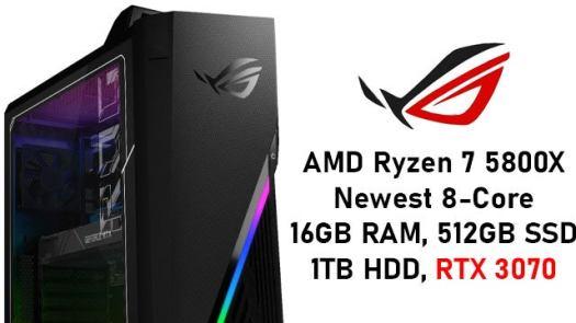 ASUS ROG AMD Ryzen 7 5800X RTX 3070 Gaming PC with 16GB RAM, 512GB SSD, 1TB HDD