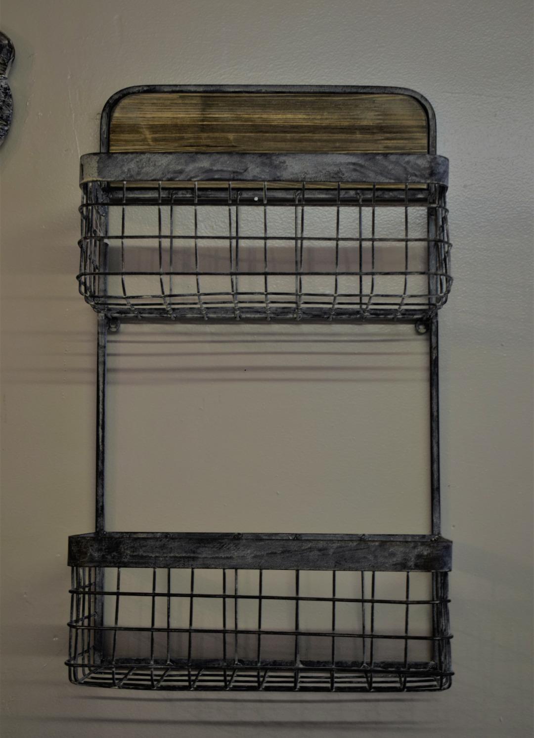 Industrial Metal Basket Wall Shelf Unit Wall Decor And Storage
