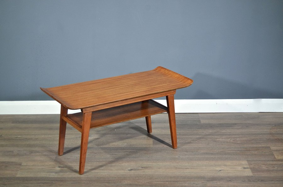 vintage midcentury myer two tier teak coffee table side table modern danish style myer myer vinterior