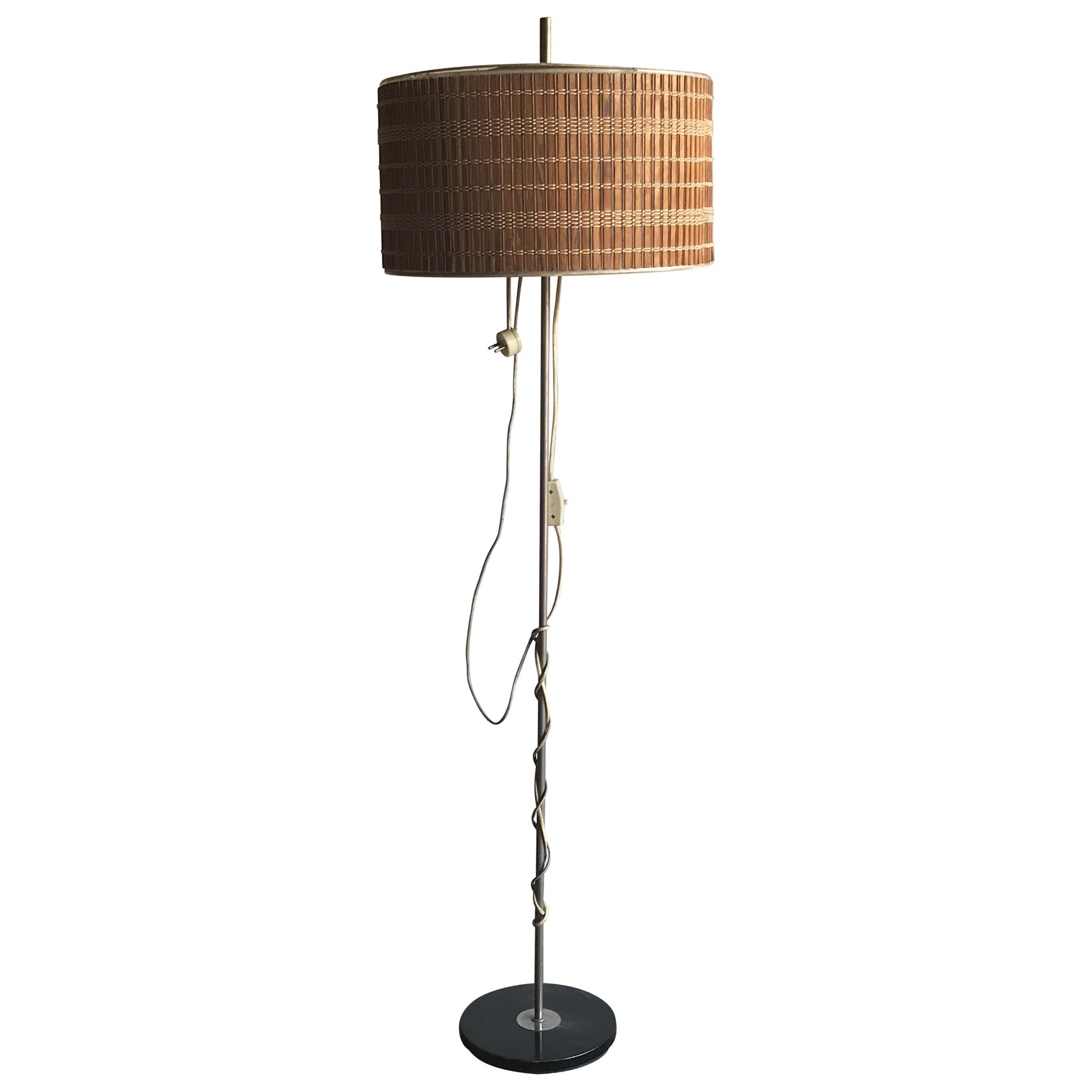 Midcentury Floor Lamp With Wooden Shade