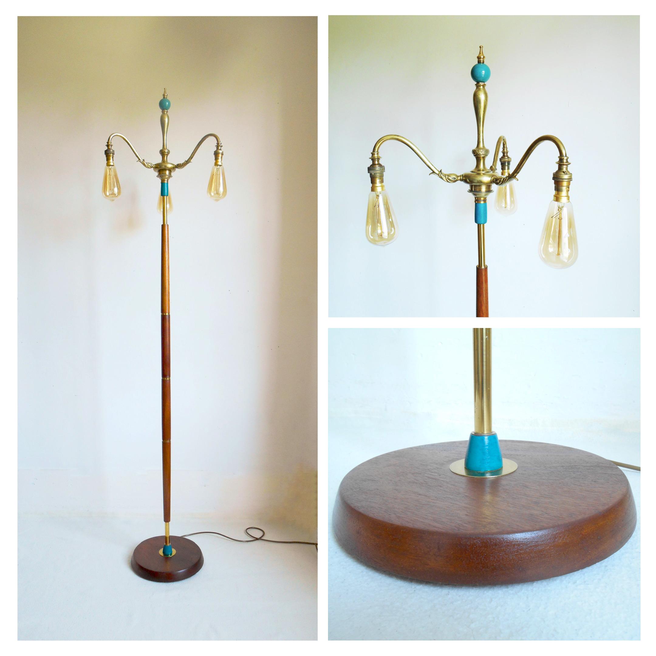 Elegant Mid Century Floor Lamp With An Antique Brass Chandelier Top