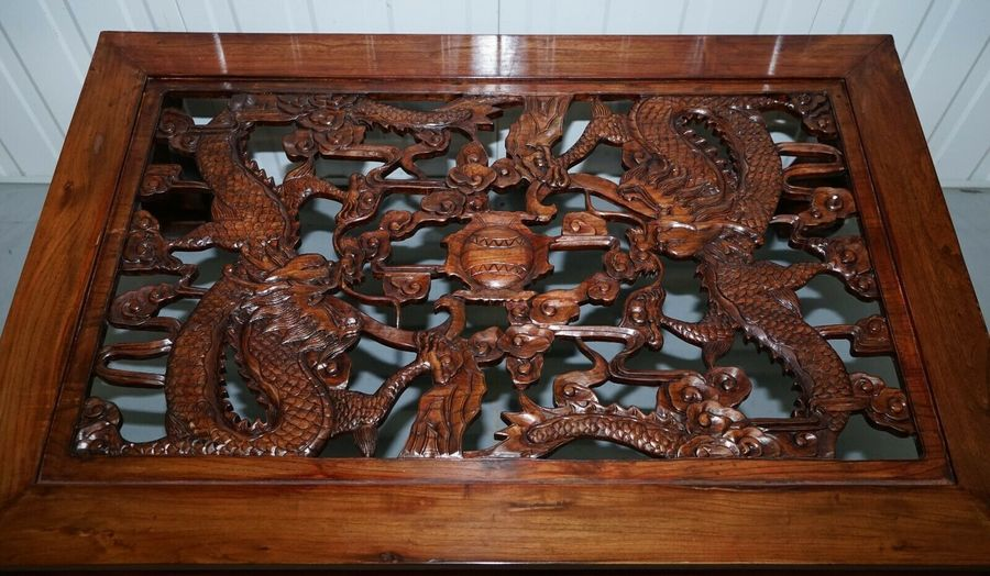oriental hand carved glass top coffee table unknown vinterior