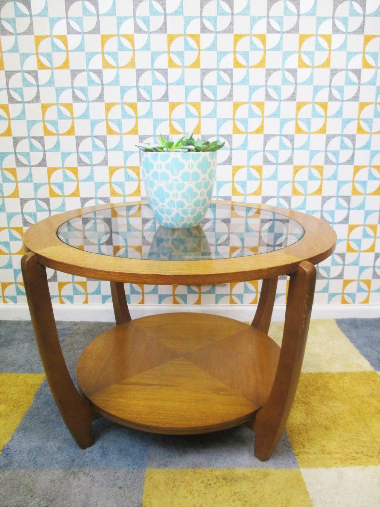 vintage 60s round teak glass coffee table nathan style mid century danish home