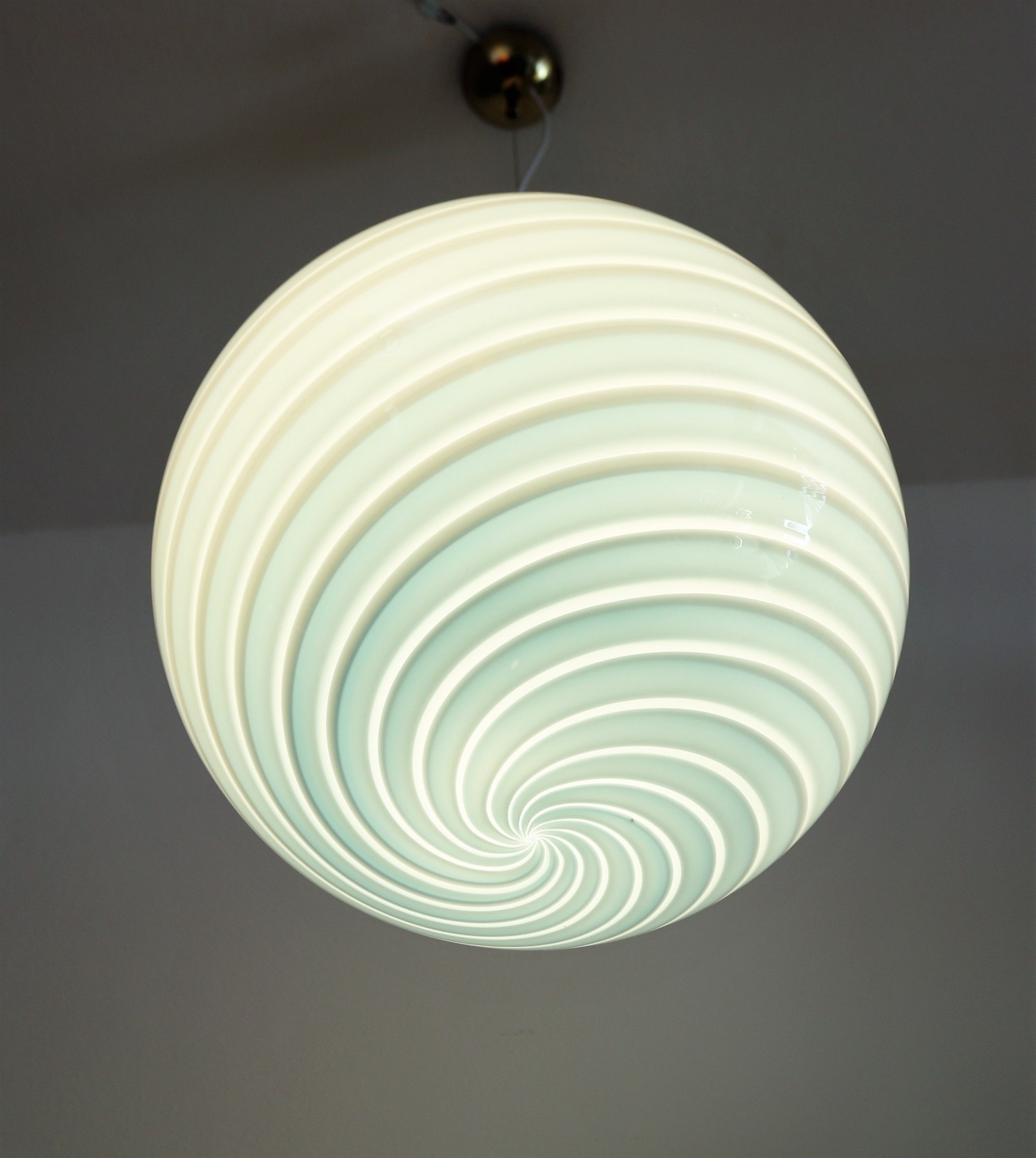Italian Murano Vintage Pendant Light With Blue Swirl Glass Globe 1970s Vinterior