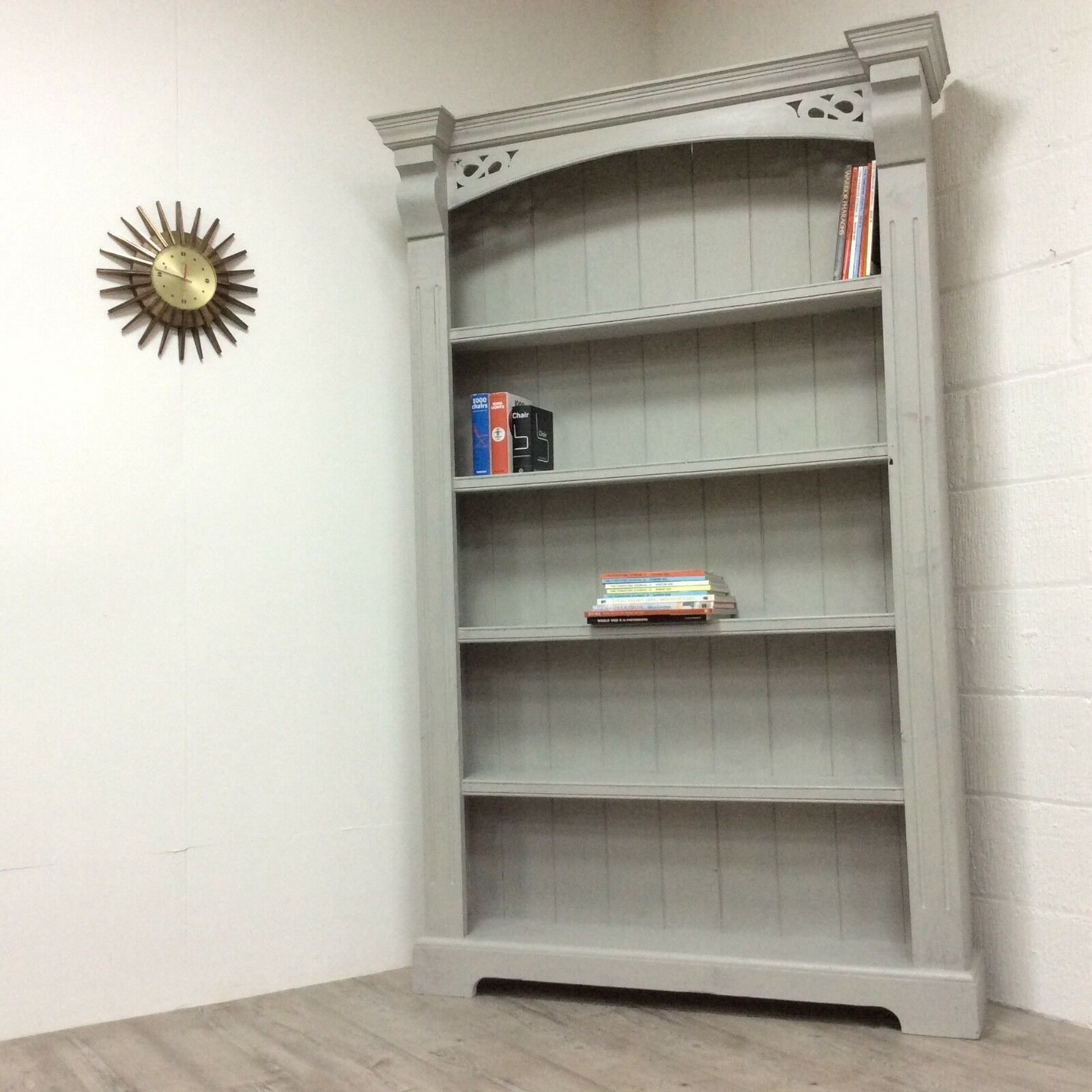 Large Solid Pine Painted French Grey Shabby Chic Wooden Bookcase Kitchen Lader