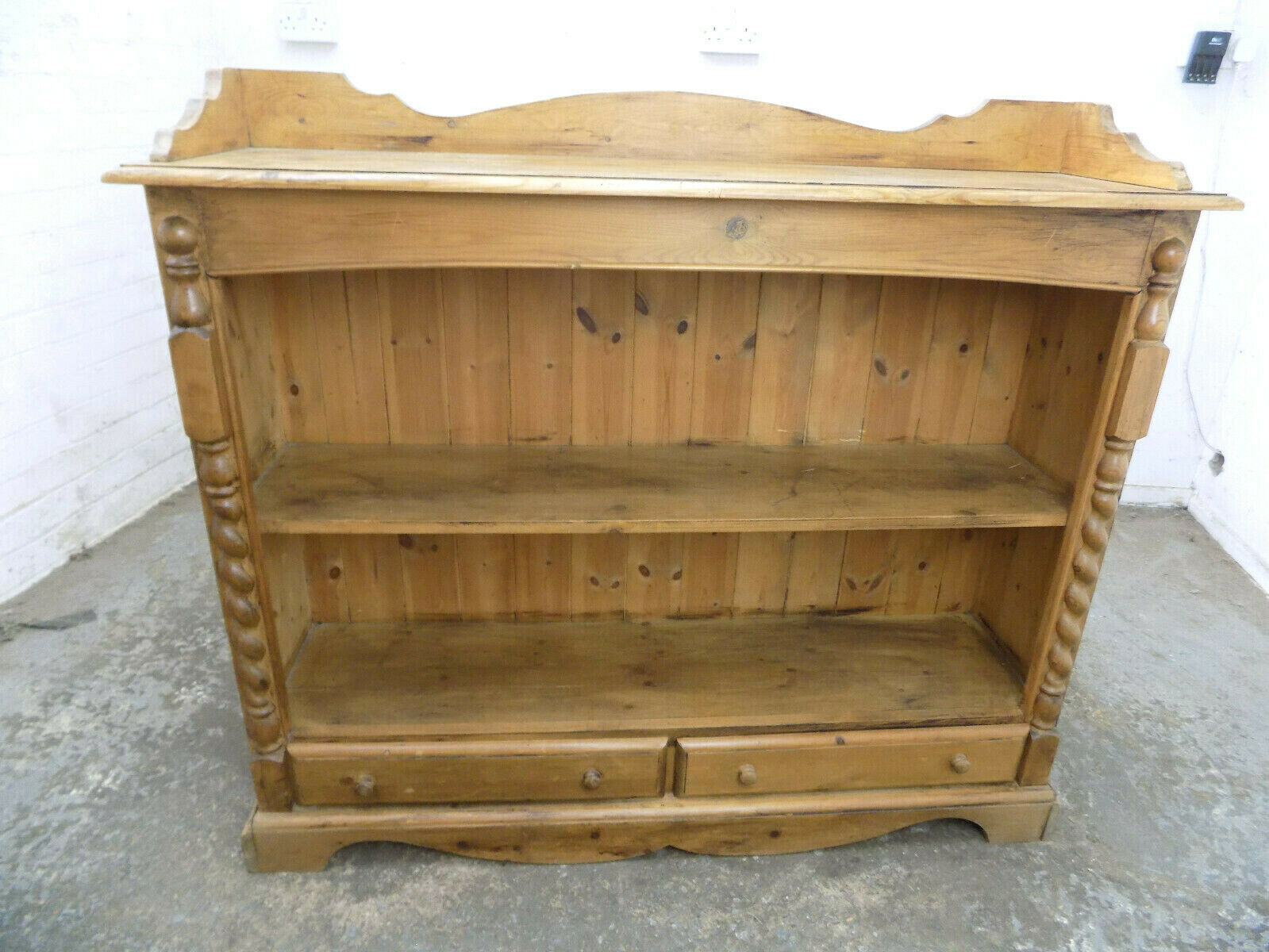 Antique Repro Pine Low Open Front Bookcase Drawers Shelves Columns Country Books