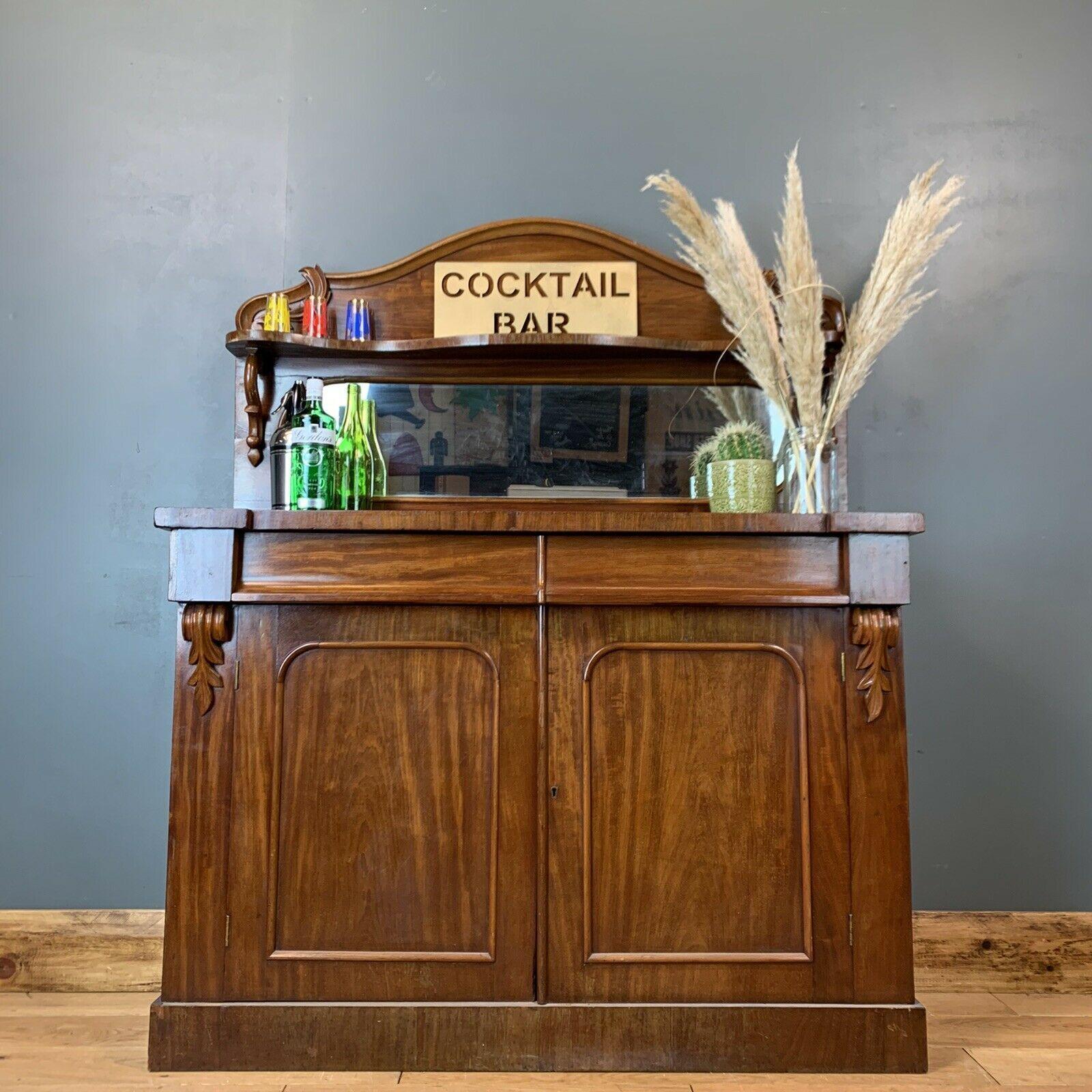 Antique Sideboard Buffet Server Chiffonier Mahogany Mirrored Cupboard Drawers Vinterior