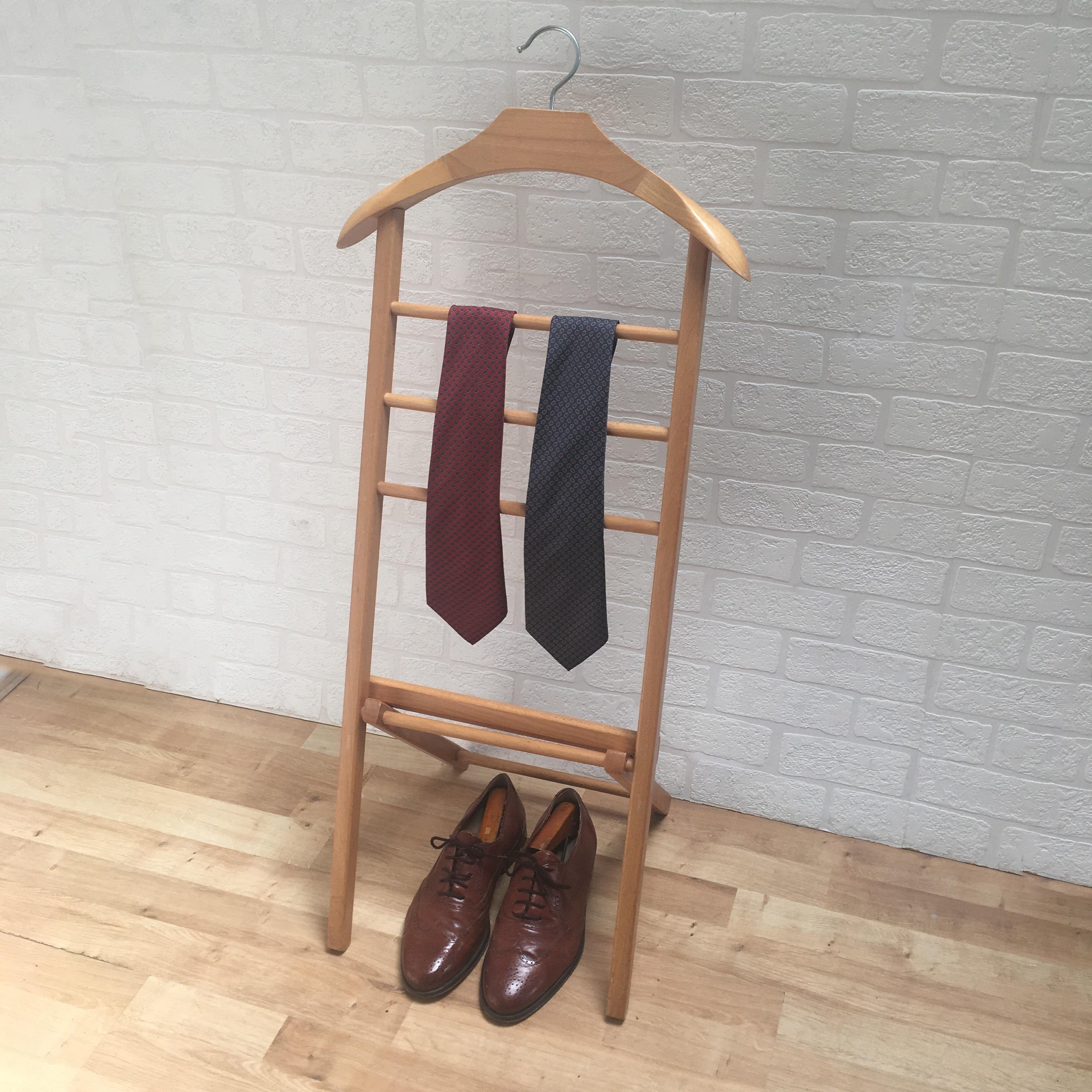 original vintage retro wooden valet stand gentleman butler jacket suit trousers ties shoes storage free standing folding clothes hanger