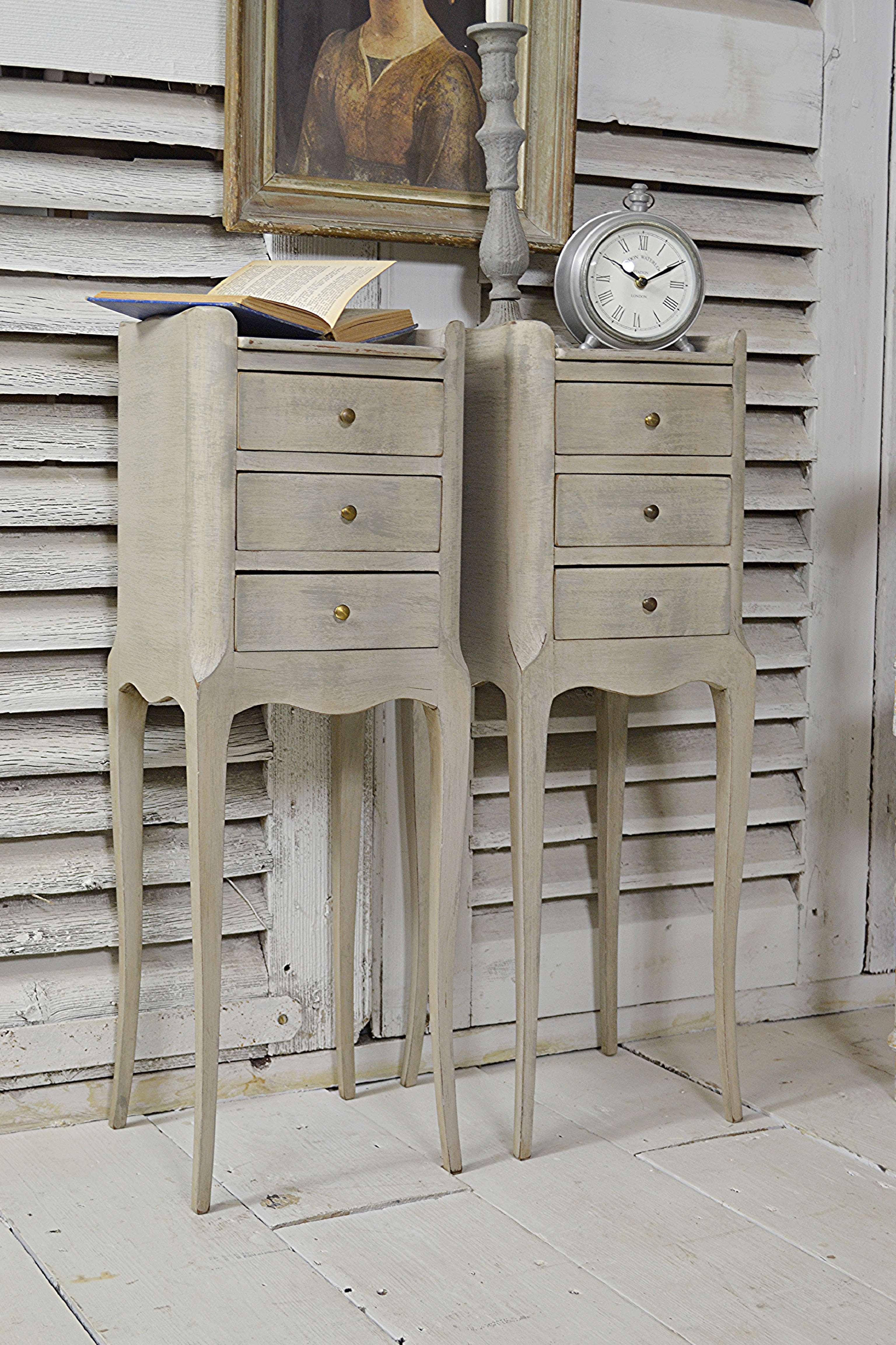 Pair Of Vintage French Narrow Bedside Tables Green Grey