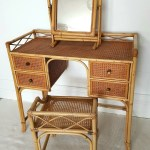 White Wicker Cane Rattan Dressing Table