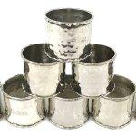 Vintage Set Of Napkin Holders Eight Napkin Rings Silver Plate Planished Design Subtle Hammered Table Vinterior