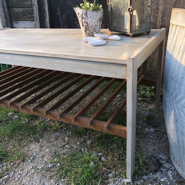 retro vintage grey painted teak 1970s coffee table tv stand with magazine shelf