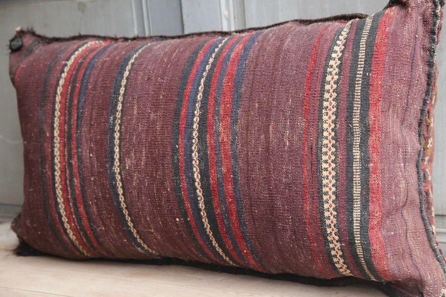 vintage turkish large kilim rug floor cushion 96x45cm mid century vinterior