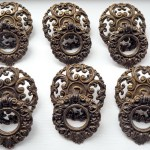 Vintage Cabinet Drawer Pulls Handles Set Of 6 Filigree 1950s Retro Reclaimed Salvaged Chic Decorative Vinterior