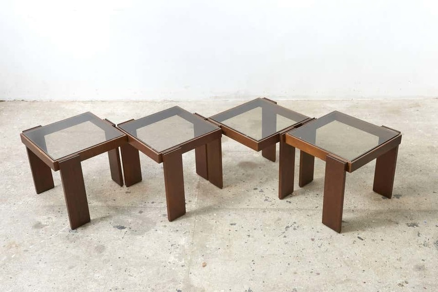 modular stackable solid wood coffee side tables by frattini for cassina
