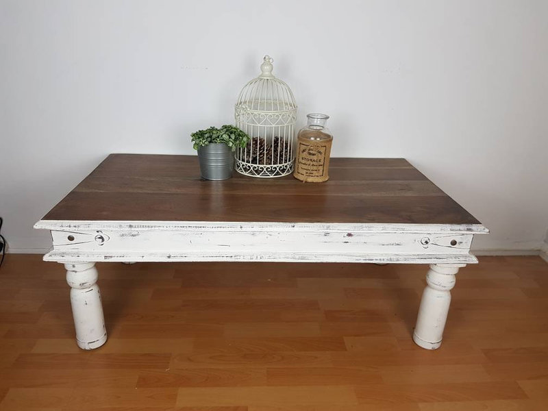 white shabby chic distressed coffee table with wooden top living room furniture vinterior