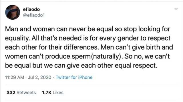 """''L'homme et la femme ne peuvent jamais être égaux""""- Efia Odo"""