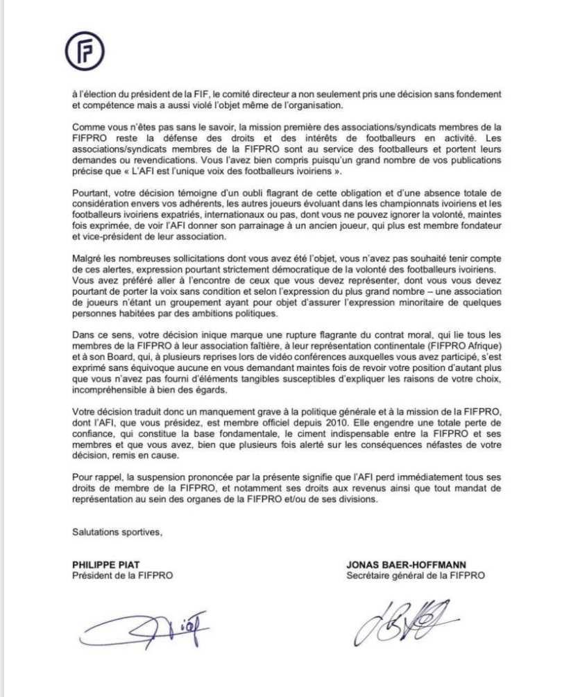 Élection à la FIF : non-parrainage de Drogba, la FIFPRO suspend l'Association des Footballeurs Ivoiriens (AFI) avec effet immédiat