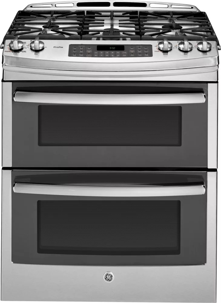 GE PGS950SEFSS 30 Inch Slide In Double Oven Gas Range With Convection Simmer Burner Reversible